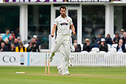 Wicket - Lewis Gregory of Somerset celebrates taking the wicket of Tom Alsop of Hampshire during the opening day of the Specsavers County Champ Div 1 match between Somerset County Cricket Club and Hampshire County Cricket Club at the Cooper Associates County Ground, Taunton, United Kingdom on 11 May 2018. Picture by Graham Hunt.