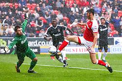 Kieffer Moore of Rotherham United shoots at goal to put Rotherham United 1-0 against Northampton Town - Mandatory by-line: Ryan Crockett/JMP - 30/09/2017 - FOOTBALL - Aesseal New York Stadium - Rotherham, England - Rotherham United v Northampton Town - Sky Bet League One