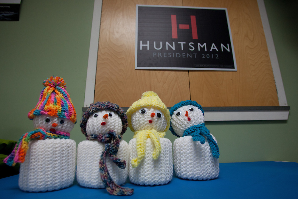 NORTH HAVERHILL, NH - JANUARY 06: Decorative snowmen are pictured at the Horse Meadow Senior Center where Republican presidential candidate and former Utah Gov. Jon Huntsman held a campaign stop on January 07, 2012 in North Haverhill, New Hampshire. Huntsman, who skipped the Iowa caucuses on Tuesday, continued to campaign for the upcoming, first in the nation primary election in New Hampshire. (Photo by Matthew Cavanaugh/Getty Images)
