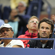 2017 U.S. Open Tennis Tournament - DAY TWO. Uncle Toni Nadal and coach Carlos Moya watching Rafael Nadal of Spain in action against Dusan Lajovic of Serbia during the Men's Singles round one match at the US Open Tennis Tournament at the USTA Billie Jean King National Tennis Center on August 29, 2017 in Flushing, Queens, New York City.  (Photo by Tim Clayton/Corbis via Getty Images)