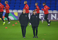 CARDIFF, WALES - Thursday, November 15, 2018: Denmark's head coach Aage Hareide (L) and assistant coach Jon Dahl Tomasson during a training session at the Cardiff City Stadium ahead of the UEFA Nations League Group Stage League B Group 4 match between Wales and Denmark. (Pic by David Rawcliffe/Propaganda)