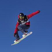 Maxence Parrot, Canada, in action during the Men's Snowboard Slopestyle competition at Snow Park, New Zealand during the Winter Games. Wanaka, New Zealand, 21st August 2011. Photo Tim Clayton
