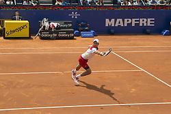 April 25, 2018 - Barcelona, Barcelona, Spain - NOVAK DJOKOVIC hits the ball during a match against MARTIN KLIZAN in Barcelona Open Banc Sabadell 2018. MARTIN KLIZAN won the match 6-3 6-7(5) 6-4. (Credit Image: © Patricia Rodrigues/via ZUMA Wire via ZUMA Wire)