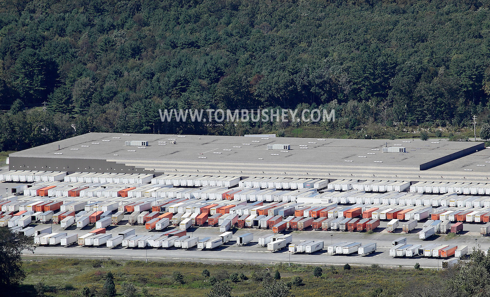 Wurtsboro, New York - Cargo trailers are parked behind the 500,000-square-foot Kohl's distribution center in this view from Shawangunk Ridge on Sept. 18, 2011. The center has bays for nearly 200 trucks.