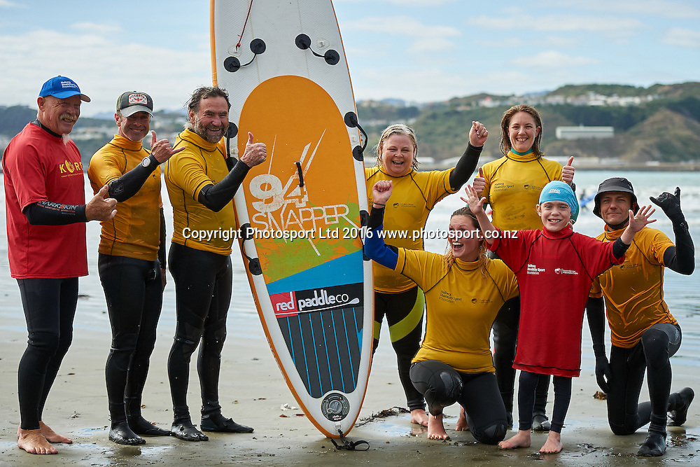 Liam with his team Flight Centre Foundation Halberg Surf Day, Lyall Bay, Wellington, New Zealand. Saturday 12 March 2016. Copyright Photo: Mark Tantrum/www.Photosport.co.nz