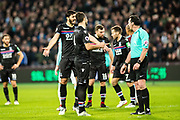 Crystal Palace #5 James Tomkins, Crystal Palace #4 Luka Milivojević Penalty for West Ham  during the Premier League match between West Ham United and Crystal Palace at the London Stadium, London, England on 30 January 2018. Photo by Sebastian Frej.
