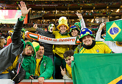 Brazil and Ivory Coast fans  prior to the 2010 FIFA World Cup South Africa Group G Second Round match between Brazil and République de Côte d'Ivoire on June 20, 2010 at Soccer City Stadium in Soweto, suburban Johannesburg, South Africa. (Photo by Vid Ponikvar / Sportida)