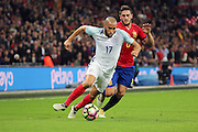 England attacker Andros Townsend (17) on the attack during the Friendly match between England and Spain at Wembley Stadium, London, England on 15 November 2016. Photo by Matthew Redman.