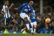 Arouna Koné (Everton) takes a shot during the Barclays Premier League match between Everton and Newcastle United at Goodison Park, Liverpool, England on 3 February 2016. Photo by Mark P Doherty.