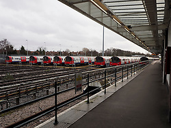Parked trains at the Stanmore station on the Jubilee line, during the London Underground Train Strike. The Jubilee line was only giving a partial service during the 48 hour strike, London, United Kingdom, Wednesday, 5th February 2014. Picture by Max Nash / i-Images