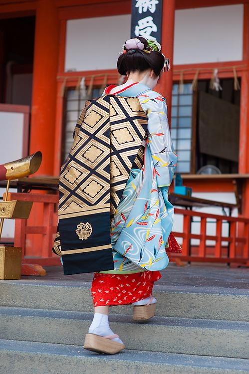 Geisha visiting Heian Shrine in Kyoto (Japan).