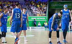 Handout photo dated 14/04/2018 provided by Jeff Holmes of Scotland reacting after defeat in the Men's Semifinal Basketball at the Gold Coast Convention and Exhibition Centre during day ten of the 2018 Commonwealth Games in the Gold Coast, Australia. Issue date: Saturday April 14, 2018. See PA story COMMONWEALTH Basketball. Photo credit should read Jeff Holmes/PA Wire. NOTE TO EDITORS: This handout photo may only be used in for editorial reporting purposes for the contemporaneous illustration of events, things or the people in the image or facts mentioned in the caption. Reuse of the picture may require further permission from the copyright holder.