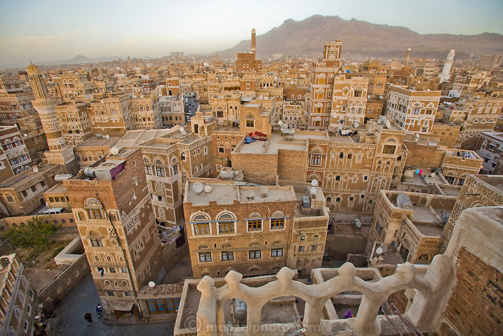 The view from the roof of an 8 story hotel in old Sanaa, the capital of Yemen.