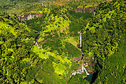 Kahili Falls (aerial), Hanapepe Valley, Kauai, Hawaii USA