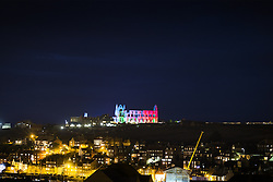 October 27, 2016 - Whitby, Yorkshire, UK - Whitby UK. 13th century Whitby Abbey that inspired Bram Stocker's Dracula has had it's gothic architecture illuminated as part of Yorkshire Abbey season, a programme of special events celebrating some of Yorkshire's finest abbey's. (Credit Image: © Andrew Mccaren/London News Pictures via ZUMA Wire)