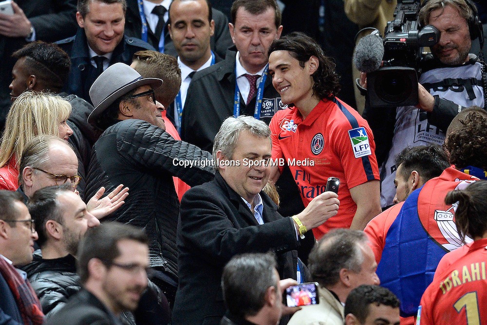 Edinson Cavani  / Yannick NOAH    - 11.04.2015 -  Bastia / PSG - Finale de la Coupe de la Ligue 2015<br />