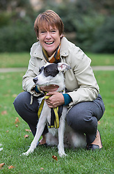 Conservative MP Caroline Spelman is pictured with Meridan, her Rescue Dog, as she competed in the annual Westminster Dog of the Year 2013 this morning. London, United Kingdom. Thursday, 10th October 2013. Picture by i-Images