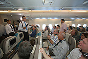 Airbus A380 first commercial flight - Singapore Airlines SQ 380 Singapore-Sydney on October 25, 2007. CNN's Richard Quest having fun with Economy Class passengers.