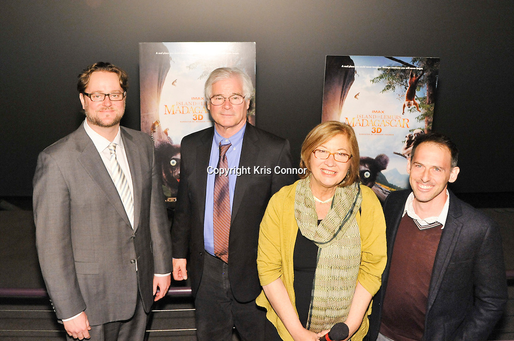 (L-R) Zarth Bertsch(Director, Theaters at Smithsonian Enterprises), Director David Douglas, Doctor Patricia C. Wright  and Writer & Producer Drew Feman pose for a photo during a screening of Island Of Lemurs: Madagascar in the Johnson IMAX Theater at the National Museum of Natural History on April 1, 2014 in Washington DC. Photo by Kris Connor for Warner Bros