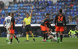 April 29, 2017 - Madrid, Spain - MADRID, SPAIN. APRIL 29th, 2017 - Yellow card for Mangala after fouling Luca Modric. La Liga Santander matchday 35 game. Real Madrid defeated 2-1 Valencia with goals scored by Cristiano Ronaldo (26th minute) and Marcelo (86th minute). Parejo (82nd minute) scored for Valencia. Santiago Bernabeu Stadium. Photo by Antonio Pozo | PHOTO MEDIA EXPRESS (Credit Image: © Antonio Pozo/VW Pics via ZUMA Wire/ZUMAPRESS.com)