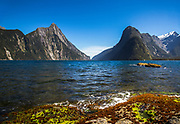 View of Mitre Peak and Milford Sound, South Island, New Zealand.