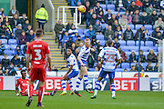 Header by Reading FC defender (5) Paul McShane during the EFL Sky Bet Championship match between Reading and Bristol City at the Madejski Stadium, Reading, England on 26 November 2016. Photo by Mark Davies.