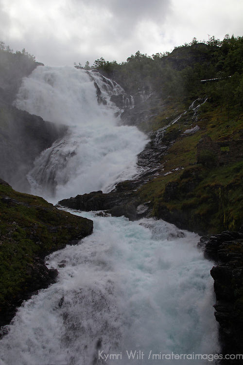 Europe, Norway, Flam. Kjosfossen Waterfall, on the Flam Line Railway.