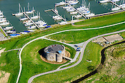 Nederland, Noord-Holland, Gemeente Gooise Meren, 20-04-2015; Vesting Muiden, Westbatterij, onderdeel Hollandse Waterlinie. <br /> Fortress Muiden, West Battery, part Dutch Waterline.<br /> <br /> luchtfoto (toeslag op standard tarieven);<br /> aerial photo (additional fee required);<br /> copyright foto/photo Siebe Swart