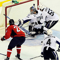 26 December 2007:  Washington Capitals left wing Alexander Semin (28) has his third period shot deflected by Tampa Bay Lightning goalie Karri Ramo (31) at the Verizon Center in Washington, D.C.  The Capitals defeated the Lightning 3-2.