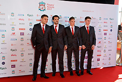 LIVERPOOL, ENGLAND - Tuesday, May 9, 2017: Liverpool players Conor Randall, Danny Ings, Harry Wilson and Ben Woodburn arrive on the red carpet for the Liverpool FC Players' Awards 2017 at Anfield. (Pic by David Rawcliffe/Propaganda)