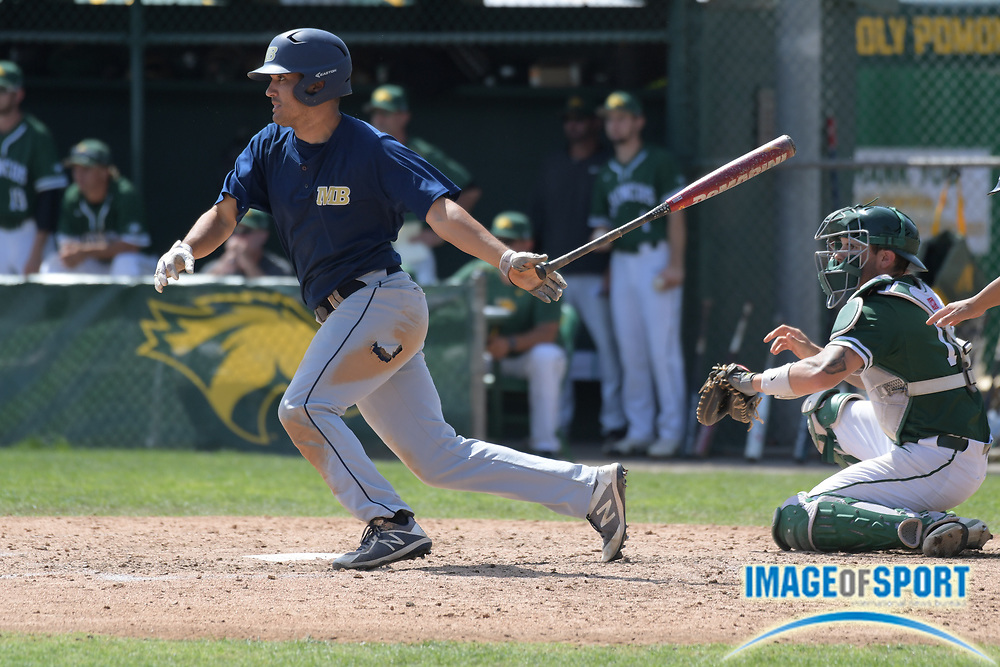 Cal State Monterey Bay Otters let fielder T.J. Dove bats during an NCAA College baseball game against the Cal  Poly Pomona Broncos in Pomona, Calif., Friday, April 13, 2018.