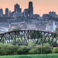Panorama photo of Kansas City Missouri skyline in the morning, view from Strawberry Hill area, Kansas City, Kansas.