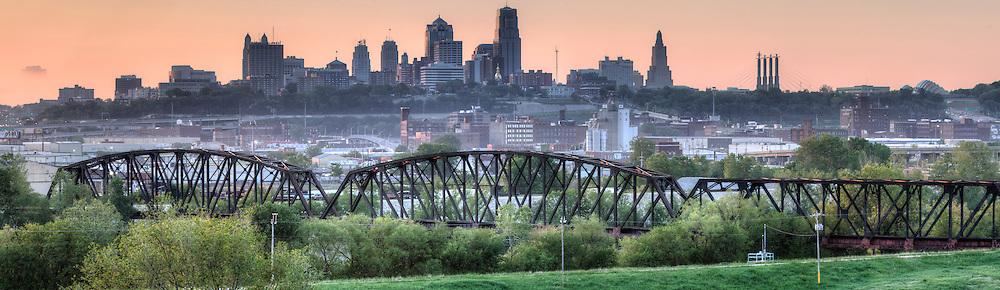 Panorama photo of Kansas City Missouri skyline in the morning, view from Strawberry Hill area, Kansas City, Kansas.