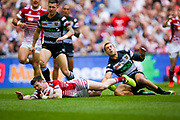 Wigan Warriors second row John Bateman (14) scores a try to make the score 0-4 during the Ladbrokes Challenge Cup Final 2017 match between Hull RFC and Wigan Warriors at Wembley Stadium, London, England on 26 August 2017. Photo by Simon Davies.