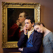 Northern Ballet dancers Hannah Bateman and Javier Torres, who will play the roles of Jane Eyre and Mr Rochester in Northern Ballet's new ballet, will pose in Room 24 at the National Portrait Gallery, the location of a special display Celebrating Charlotte Brontë: 1816 – 1855, which includes portraits of the famous literary family and treasures on loan from the Brontë Parsonage Museum, Haworth.<br /> <br /> National Portrait Gallery, London, Great Britain 20th April 2016<br /> <br /> On the eve of the 200th anniversary of Charlotte Brontë's birth, which falls on 21 April 2016, Northern Ballet has partnered with the National Portrait Gallery to bring two dancers from its upcoming World Première of Jane Eyre to London. <br /> <br /> <br /> Lord Byron painting with <br /> Hannah Bateman and Javier Torres<br /> <br /> <br /> <br /> <br /> Photograph by Elliott Franks <br /> Image licensed to Elliott Franks Photography Services