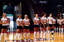 September 01, 2001:  Illinois State Redbirds Volleyball starting 6. Left to Right - Staci Boyce, Becky Weber, Abby Lewis, Jenny Kabbes,  Megan O'Connell, Christy Beyers..This image was scanned from a print.  Image quality may vary.  Dust and other unwanted artifacts may exist.