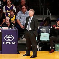 30 March 2018: Milwaukee Bucks head coach Joe Prunty is seen during the Milwaukee Bucks 124-122 victory over the LA Lakers, at the Staples Center, Los Angeles, California, USA.