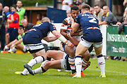 Bradford Bulls winger Johnny Campbell (19) is bundles into touch during the Kingstone Press Championship match between Swinton Lions and Bradford Bulls at the Willows, Salford, United Kingdom on 20 August 2017. Photo by Simon Davies.