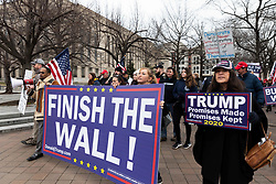 February 23, 2019 - Washington, DC, United States - The American Border Foundation members march on Constitution Avenue during a rally on Saturday morning in Washington, D.C. They want the Federal Goverment to build the wall between US and Mexico border in Washington, DC, on February 23, 2019. (Credit Image: © Aurora Samperio/NurPhoto via ZUMA Press)