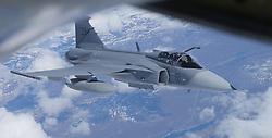 29.05.2015, Mildenhall, ENG, 100th ARW, Artic Challenge, USAFE, RAF Mildenhall, im Bild Eine schwedische Gripen bei der Betankung durch eine KC 135 der USAFE // during an aerial refueling maneuver over Mildenhall, Great Britain on 2015/05/29. EXPA Pictures © 2015, PhotoCredit: EXPA/ Eibner-Pressefoto/ Neurohr<br /> <br /> *****ATTENTION - OUT of GER*****