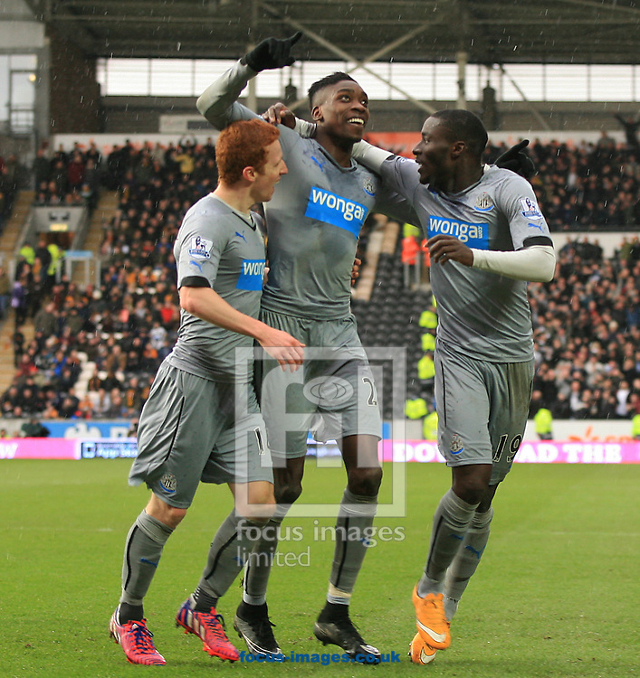 Sammy Ameobi (centre) of Newcastle United scores to make it 2-0 and celebrates with his team mates during the Barclays Premier League match at KC Stadium, Hull<br /> Picture by Richard Gould/Focus Images Ltd +44 7855 403186<br /> 31/01/2015