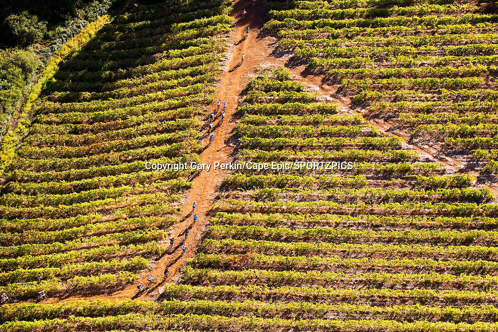 Riders climb through the Wellington vineyards during stage 6 of the 2015 Absa Cape Epic Mountain Bike stage race from the Cape Peninsula University of Technology in Wellington, South Africa on the 21 March 2015<br /> <br /> Photo by Gary Perkin/Cape Epic/SPORTZPICS<br /> <br /> PLEASE ENSURE THE APPROPRIATE CREDIT IS GIVEN TO THE PHOTOGRAPHER AND SPORTZPICS ALONG WITH THE ABSA CAPE EPIC