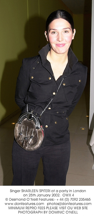 Singer SHARLEEN SPITERI at a party in London on 25th January 2002.<br />