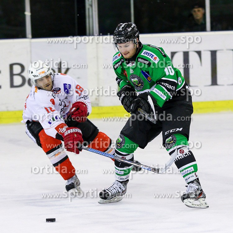 Tom Zanoski of Olimpija vs Marjan Manfreda of Jesenice during ice hockey game between HDD Telemach Olimpija and SIJ Acroni Jesenice in 1st leg of Finals of Slovenian National Championship 2015, on April 9, 2015 in Hala Tivoli, Ljubljana, Slovenia. Photo by Matic Klansek Velej / Sportida