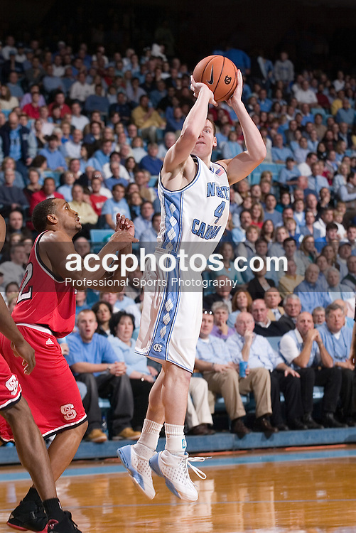 07 January 2006:  Bobby Frasor (4)in a North Carolina State Wolfpack 69-82 loss to the North Carolina Tarheels, in the Dean Smith Center in Chapel Hill, NC.