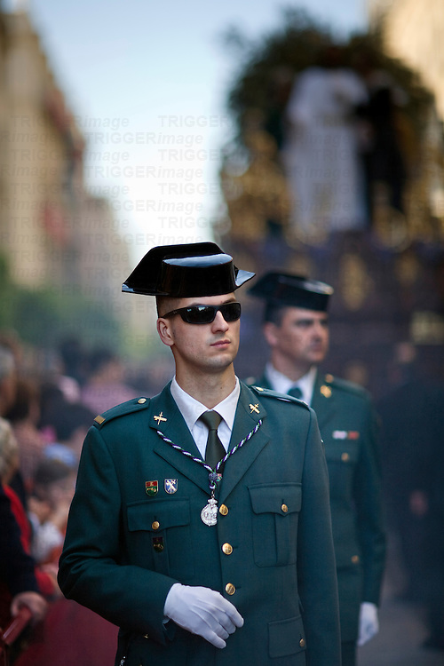 Civil Guard escorting a procession, Holy Week 2008, Seville, Spain
