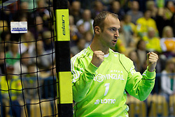 Goalkeeper of Kiel Thierry Omeyer during the handball match between RK Celje Pivovarna Lasko (SLO) and TWH Kiel (GER) in 4th Round of Velux EHF Men's Champions League, on October 17, 2010 in Arena Zlatorog, Celje, Slovenia.  (Photo By Vid Ponikvar / Sportida.com)
