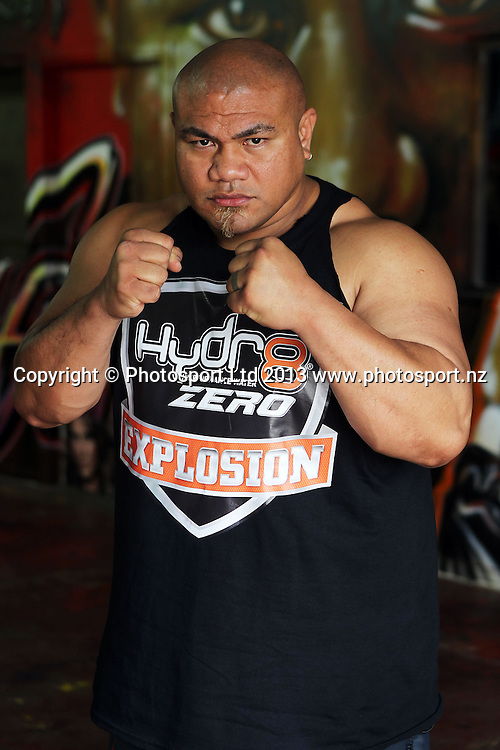 David Tua, Hydr8 Zero, David v Goliath Press Conference ahead of the August 31 bout between David Tua and Alexander Ustinov. David Tua's Gym, Onehunga, Auckland. 25 June 2013. Photo: William Booth/photosport.co.nz