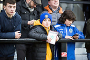 Macclesfield fan before the EFL Sky Bet League 2 match between Salford City and Macclesfield Town at the Peninsula Stadium, Salford, United Kingdom on 23 November 2019.