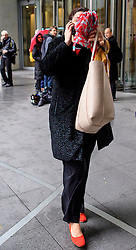 © Licensed to London News Pictures. 20/11/2016. London, UK. MIRIAM GONZALEZ DURANTEZ, wife of former deputy prime minister Nick Clegg, covers her face as she leaves BBC Broadcasting House in London after a BBC radio show appearance.  Photo credit: London News Pictures.